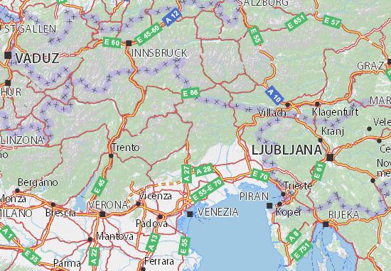 Cartina Veneto Michelin.Michelin Belluno Map Viamichelin