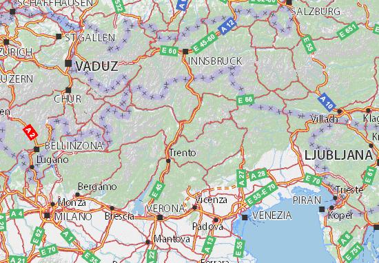 Cartina Fisica Del Trentino Alto Adige Da Stampare.Mappa Trentino Alto Adige Cartina Trentino Alto Adige Viamichelin