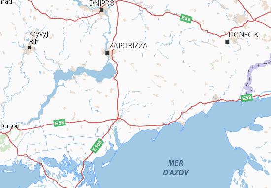 Mapa Plano Zaporiz'ka oblast