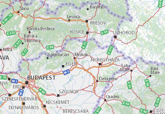Mapa Borsod-Abaúj-Zemplén