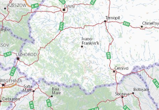 Ivano-Frankivs'ka oblast Map