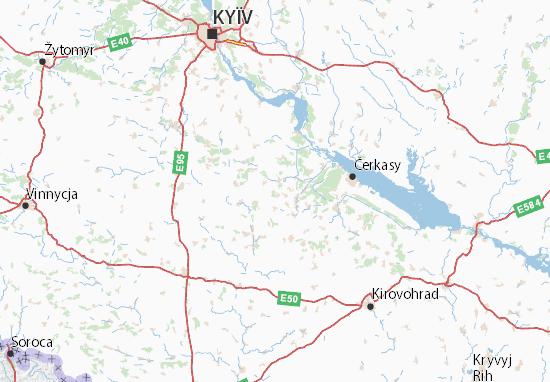 Mapa Plano Cherkas'ka oblast