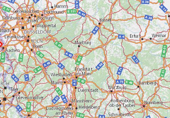 Karte Würzburg Und Umgebung.Karte Stadtplan Hessen Viamichelin