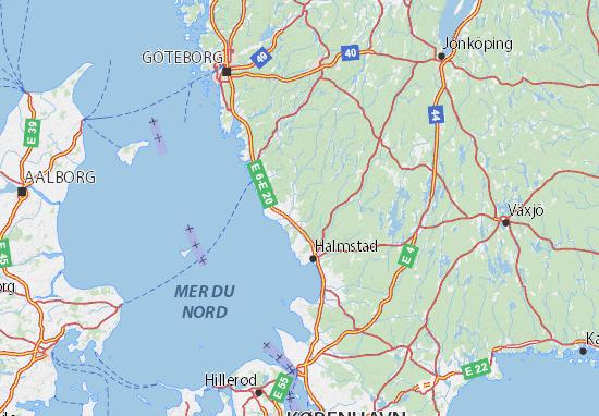 Mapa Plano Hallands län
